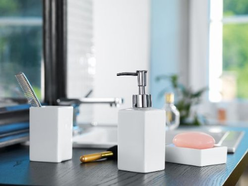 Spirella Quadro Stoneware Soap Dispenser, White