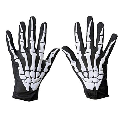 Amaping Unisex Full Finger Halloween Skull Bone Skeleton Pattern Gloves