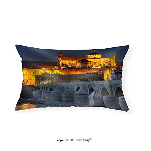 VROSELV Custom pillowcasesCityscape of Cordoba at Sunset with Roman Bridge and Mezquita Andalusia Spain - Fabric Home Decor(12''x22'') by VROSELV