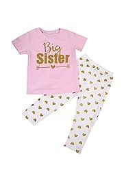 Newborn Kids Baby Girls Matching Sister Romper Shirt Tops+Pants Outfit Clothing Set