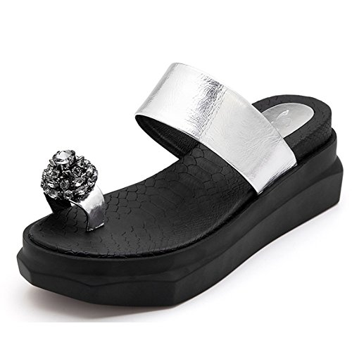 Cómodo Pantuflas Los pies femeninos del clip del verano pierden los deslizadores inferiores de la torta Forme el cinturón para usar las zapatillas del dedo del pie del diamante Zapatillas gruesas (2 c A
