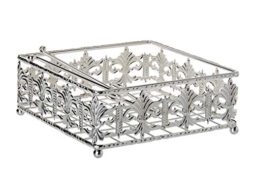 (Judaica Silver Plated Napkin Holder Filigree Design Square Base 8
