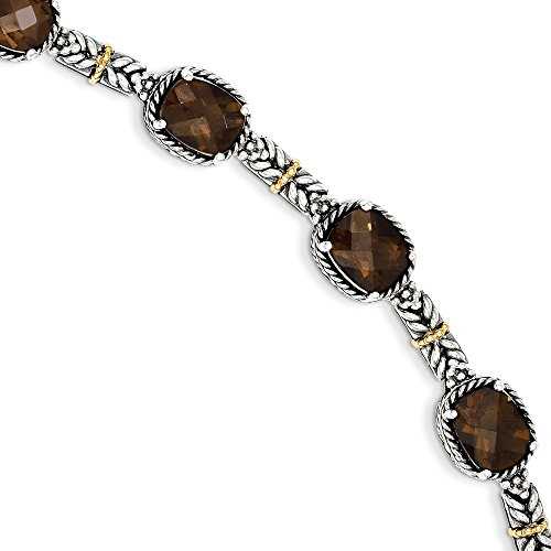 Sterling SIlver 14k Yellow Gold-Plated 16 Smoky Quartz 7.75in Vintage Style Bracelet 16ct by Jewelry Pot