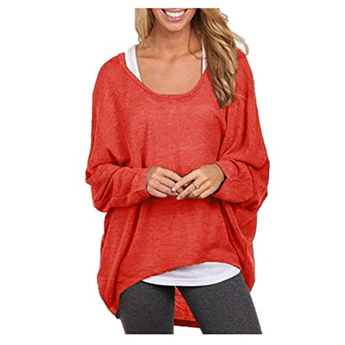 Romacci Women's Sexy Long Batwing Sleeve Loose Pullover Casual Top Blouse T-Shirt (Camisole Pullover Top)