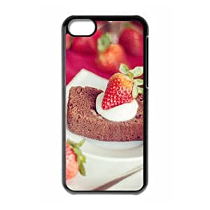 Okaycosama Funny IPhone 5C Cases Strawberry Cake Cute for Girls, Case for Iphone 5c for Women, {Black}
