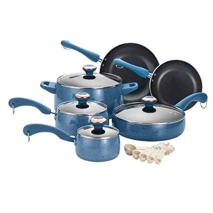 Paula Deen Signature porcelana 15 unidades, antiadherente utensilios de cocina conjunto, color azul moteado