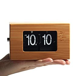 Bamboo Auto Flip Down, Desk Click Clock, 5x3x3 inches, Home Décor, Vintage, Retro, Battery Operated, Premium Environmental for Office, Home, Kitchen, Bar, Modern Living Room (Nano Bamboo Clarity)