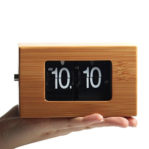 WonderZoo Nano Bamboo Auto Flip Down Clock, 5 x 2.7 x 3 inches, Handheld, Portable, Quiet, Noiseless, for Office, Home, Kitchen, Bar, Moden Living Room Decor (Nano Bamboo Clarity) For Sale
