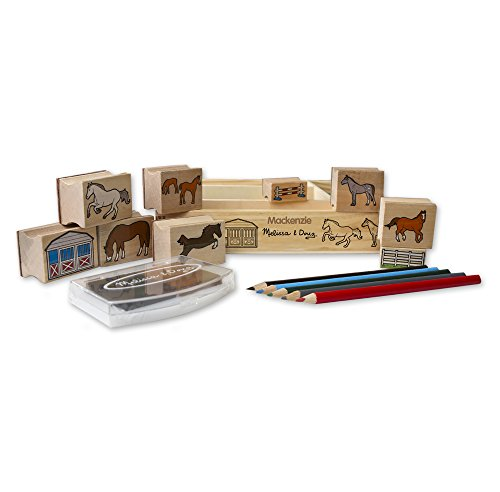 Melissa & Doug Personalized Horse Stable 10 Stamps, 5 Pencils, 2-Color Wooden Pad (Dropship Personalized Gifts)