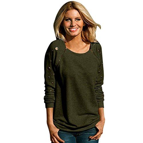 Lisingtool Women's Zipper Long Sleeve Sweatshirt T-Shirt Tops Blouse (XL, Army Green)