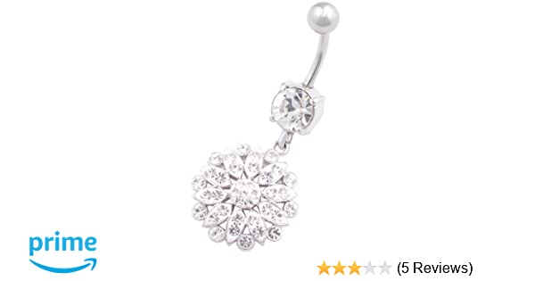 Covet Jewelry Single CZ Paved Double Curve Hanging 316L Surgical Steel Taper