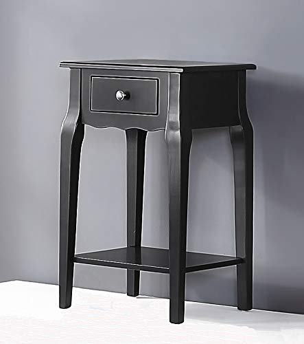 GTU Furniture 1 Drawer Wood Accent Storage Nightstand Side Table End Table Black
