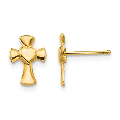14kt Yellow Gold Madi K Heart Cross Post Earrings
