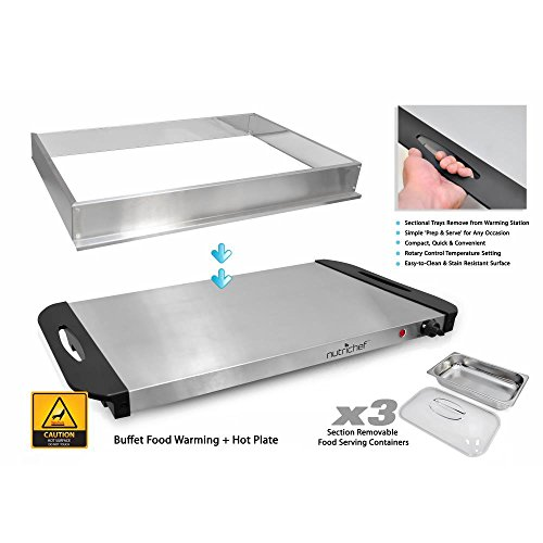 NutriChef 3 Tray Buffet Server & Hot Plate Food Warmer   Tabletop Electric Food Warming Tray   Easy Clean Stainless Steel   Portable & Great for Parties & Events   Max Temp 175F   (PKBFWM33.V7) by NutriChef (Image #2)