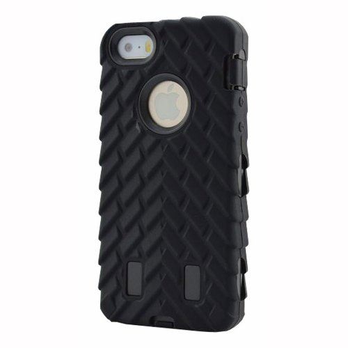 Meaci® Iphone 5 5s Case 3in1 Tire Stripe Combo Hybrid Defender High Impact Body Armorbox Hard Pc&silicone Case (black)