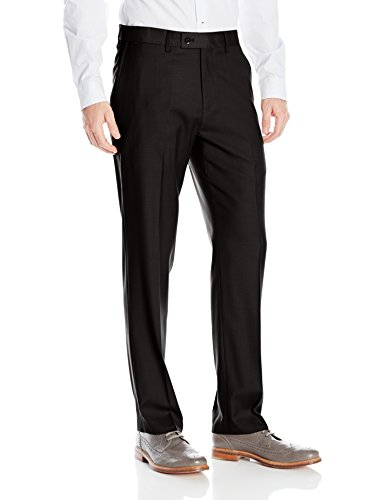 Louis Raphael Men's Rosso Washable Wool Blend Flat Front Comfort Dress Pant, Black, 33W x 30L