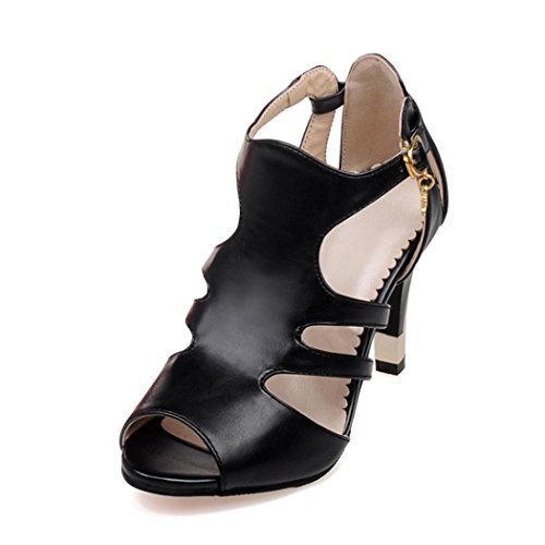 Price comparison product image Autumn Melody Stylish Women Sandals Personality Fish Mouth Shoes Charm High Heels Size 9 US Black