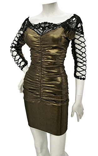 Women's Fishnet Style Sleeve Sexy Mini Dress (XLarge, Dark Gold) (Foil Slinky)
