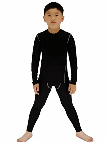 SANKE Boys Soccer Practice Long Sleeve Shirt & Pants 2PCS Compression Set, Black, 5