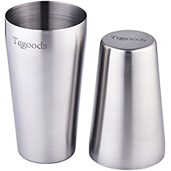 Cocktail Shaker: 2-piece Set 20oz Unweighted & 26oz Weighted Professional Bartender Boston Cocktail Shaker by Tqgoods