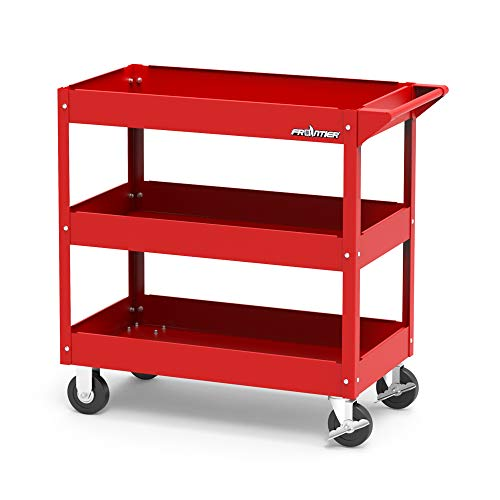 Service Tool Cart Tool Organizers - New Design in 2018, Easy to Assembly, 4 castors for Move, Most Stable for DIY Working, Garage Storage Roller cart, Dollies 3 trays Red color