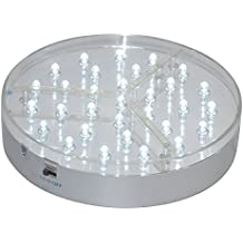 Kitosun 6inch Under Vase Led Light Base 31pcs LED Lights 3aa Battery Operated for Home, Events, Wedding, celebrations Centerpiece Under Vase Lighting (6inchX1.4inch, White LED)