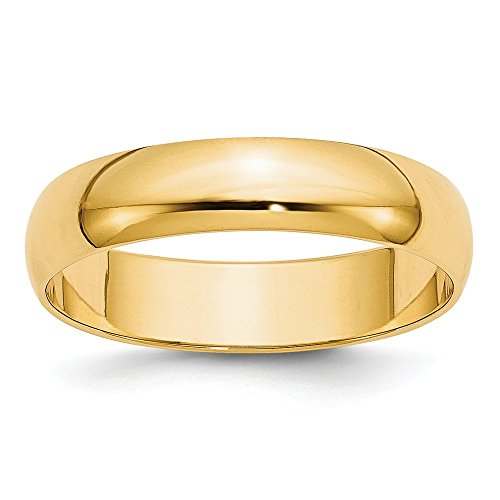 Jewelry Stores Network Solid 14k Yellow Gold 5 mm Rounded Wedding Band ()