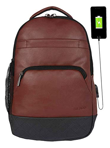 6e672ab6e60 Fur Jaden Anti Theft Zipper Brown 15.6 Inch Laptop Backpack Bag with USB  Charging Port   Fully Waterproof (Brown)