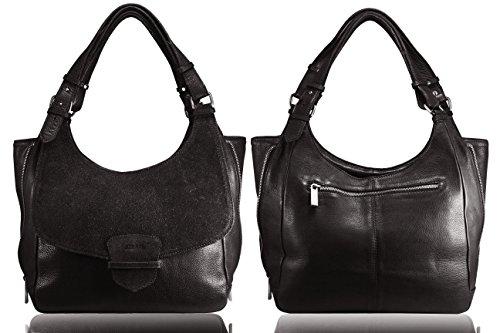 FERETI Donna Borsa Vera Pelle Tracolla Portafoglio Marrone Bag Made Italy Mano Leather Da Pochette Con Borsetta Nuovo Genuine Spalla