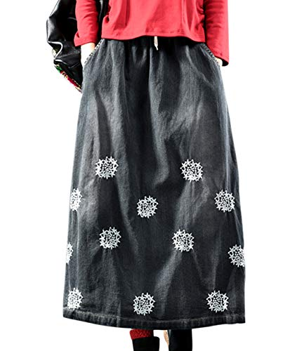 - YESNO YL2 Women Casual Loose Girl Denim Skirts Handcraft Embroidery Elastic Waist with Drawstring Distressed Pockets