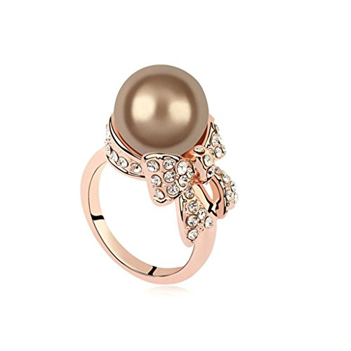 [AmDxD Jewelry Gold Plated Eagagement Rings for Women Bowknot Single Freshwater Pearl Brown Size 7] (Sanderson Quilt)