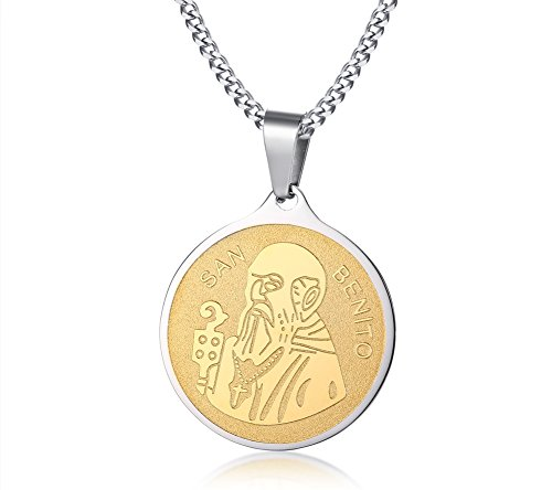 - MP Stainless Steel St Benedict Medal Benedict Medallion Celtic Cross Catholic Round Tag Pendant Necklace for Men Women Silver Gold