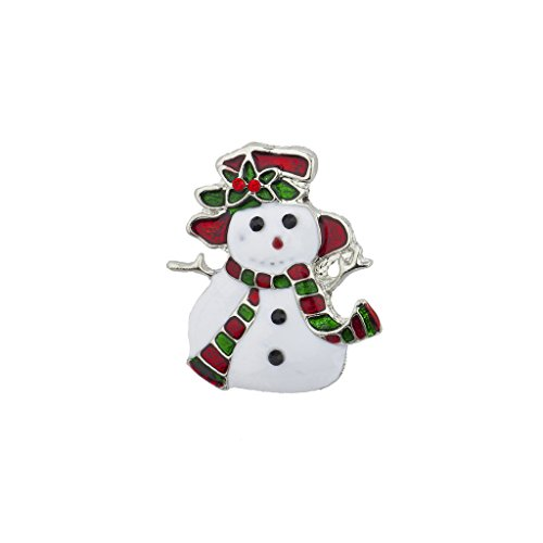 Lux Accessories Holiday Christmas Xmas White Red Green Enamel Snowman Brooch (Holiday Themed Costume Jewelry)