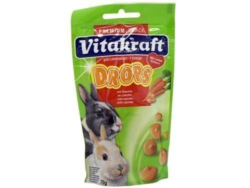 Vitakraft Sugar Free Multi Species Carrot Drops for Degu, Rabbit, Small Animals 75g