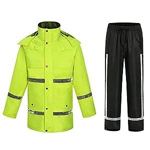 Zjcpow Double rembourré Raincoat réfléchissant antipluie Riding Raincoat Set avec Haut imperméable et visibilité Manteau…