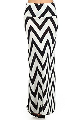 ColorMC Women's Plus Size Colorblock Chevron Maxi Knit Long Skirt XL Black