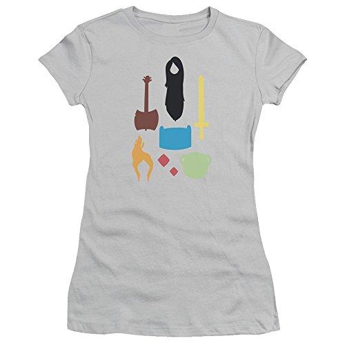 Icônes Adventure Time Femmes Tee De Shirt Silver Jeunes tTH8Twqx