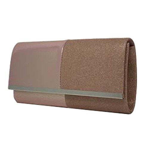 Evening Leather Metal Block Pink Ladies Bag Faux Clutch Panel Glitter Trim UwxUTq7