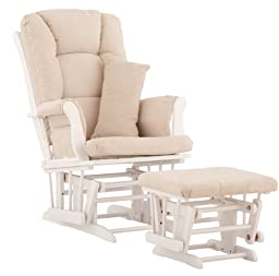Stork Craft Tuscany Custom Glider and Ottoman with Free Lumbar Pillow, White/Beige