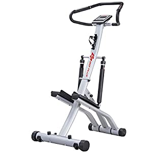 Goplus 2 in 1 Folding Step Machine Twister Climber with 12 Rsistance Levels, Heart Rate, Handrail, LCD Display and Bottle Holder Perfect for Aerobic Workout Home Gym