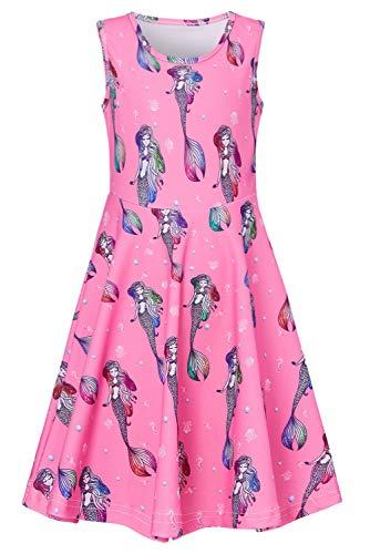 RAISEVERN Big Girl's Mermaid Dress Sleeveless Sundress Cute Round Neck Pink Dresses Summer Holiday Beachwear for Child 10-13T -