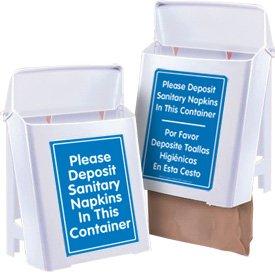 Plastic Sanitary Napkin Receptacles, White / Blue - English