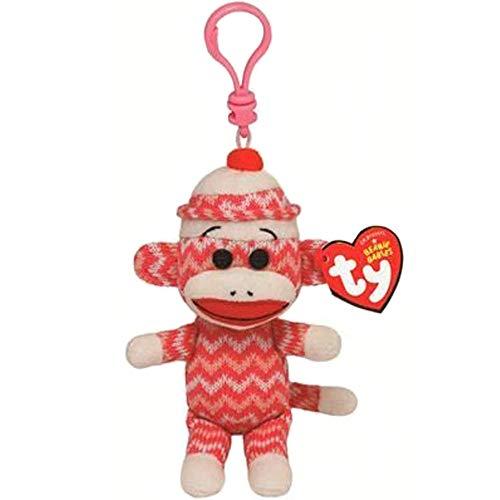 Sock Monkey - Ty Beanie Babies 4 Quot 9cm Sock Monkey Zig Zag Clip Keychain Plush Soft Stuffed Animal Collectible - Boys Stuffed Animals Plush Stuffed Plush Animals Monkey Keychain Teddy W