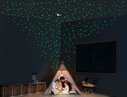 Glow Stars and Moon for Ceiling – Mega Pack of 1,102 Glowing Stickers Decorative Wall Decals for Adults and Children Bedrooms ()