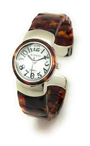 (Ladies Silver Case Unique Acrylic Bangle Cuff Stylish Fashion Watch Pearl Dial Wincci (tortoise shell))