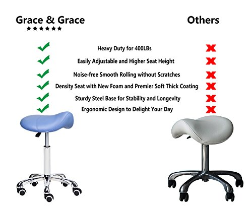 Grace & Grace Rolling Adjustable Comfortable Ergonomic Saddle Stool Series with Heavy Duty Metal Base for Clinic Spa Salons Classrooms Home (Blue)