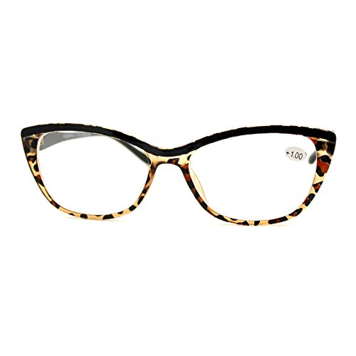 Clear Lens Glasses With Bifocal Reading Lens Womens Rectangular Cateye Leopard +1.75
