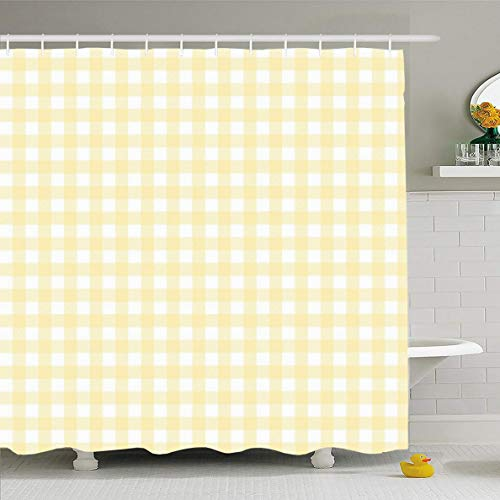 Ahawoso Shower Curtain 60x72 Inches Check Yellow Buffalo Plaid Pattern Gingham Summer Checkered Flannel Lumberjack Tartan Design Waterproof Polyester Fabric Bathroom Curtains Set with Hooks