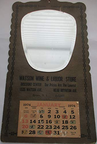 Watson Wine and Liquor Store Advertising Collectible Mirror and 1974 Calendar