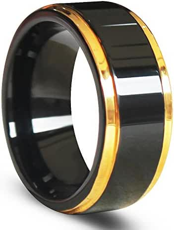 EZreal Gold Edges and Raised Center Top Polished Black Tungsten Carbide Rings , Men's Women's Wedding Bands Anniversary Rings Comfort Fit 8mm